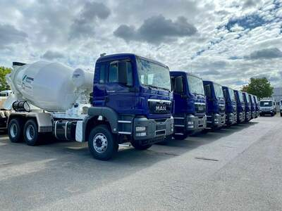 Concrete mixers ready for to work in the Caribbean